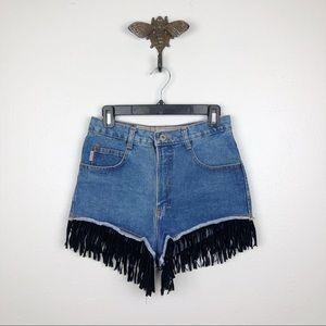 Vintage JouJou Fringe High Rise Denim Shorts